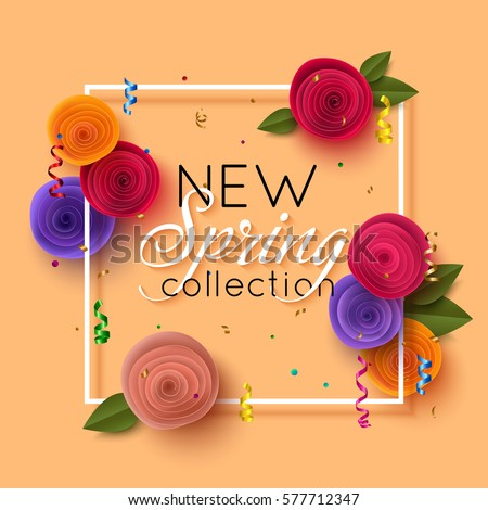 Spring banner paper flowers online shopping stock vector royalty spring banner with paper flowers for online shopping advertising actions magazines and websites mightylinksfo