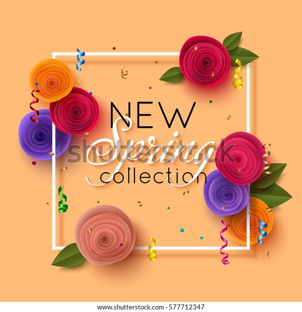 Spring Banner Paper Flowers Online Shopping Stock Vector Royalty