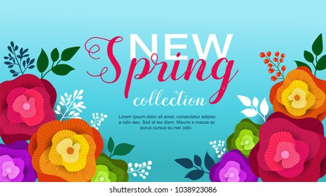 Spring banner with paper flowers for wallpaper, flyer, magazine, online, advertising actions. Vector illustration.