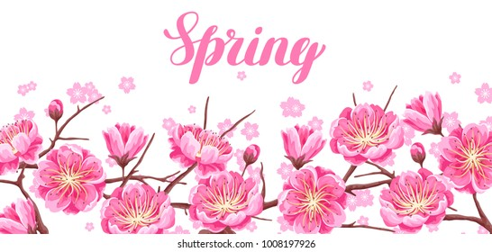 Spring banner with sakura or cherry blossom. Floral japanese ornament of blooming flowers.