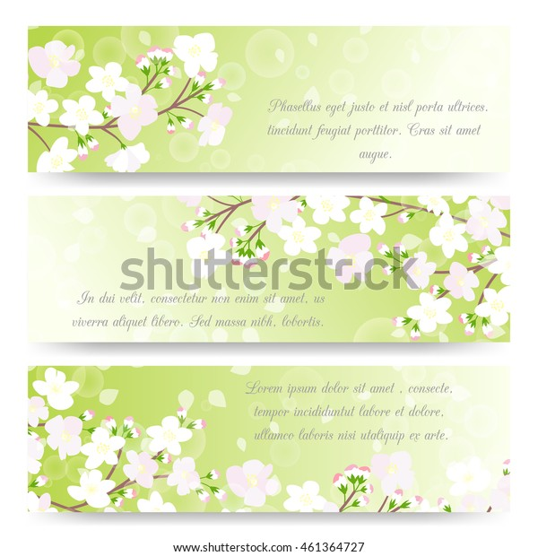 Spring banners with blossoming tree brunch. Floral invitation cards with flowers. Vector illustration