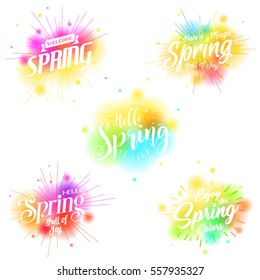 Spring banners set. Vector colorful spring labels, watercolor background hand lettering, ray burst.