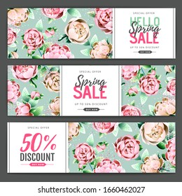 Spring big sale poster with full blossom peony flowers. Set of Spring sale banners