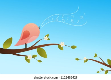 Spring bird on tree singing song from the musical notes. Pink bird cartoon character.Singing Bird on a branch.Bird on a tree.Vector illustration on sky background.