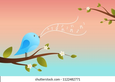 Spring bird on tree singing song from the musical notes. Blue bird cartoon character.Singing Bird on a branch.Bird on a tree.Vector illustration on sky background.