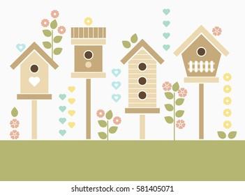 Spring Birdhouses. Vector illustration.