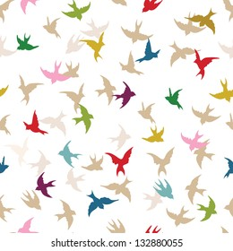 Spring birds seamless pattern. Colorful texture on white backgro?