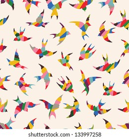 Spring birds seamless pattern. Colorful texture on white background