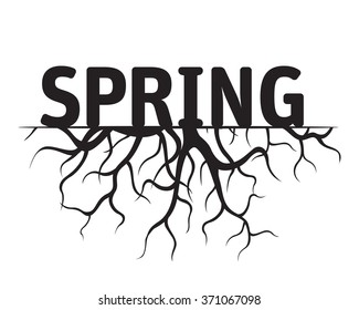 SPRING Black Vector Illustration
