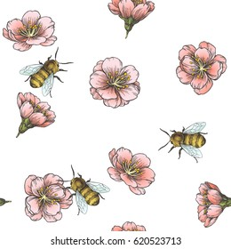 Spring blossom almond and bees. Vector botanical seamless pattern. Vintage hand drawn illustration with pink flowers of apple and insect