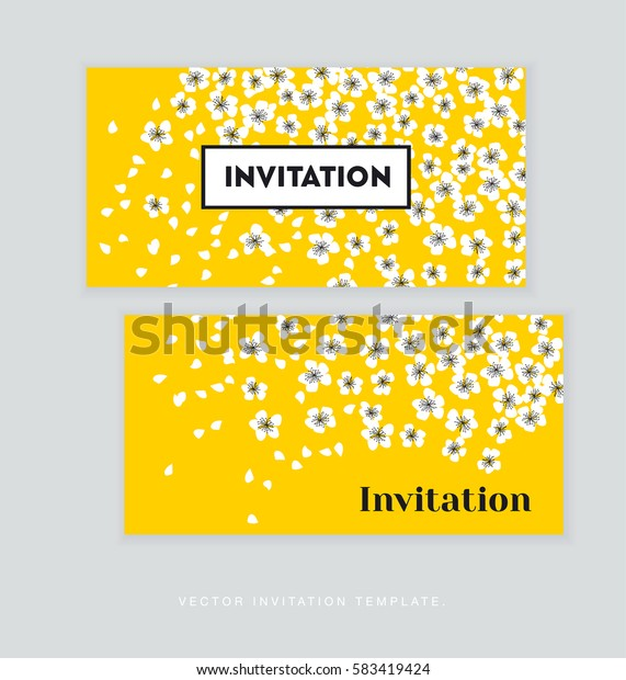 spring blossom invitation card template. simple elegant floral vector illustration for header. cover, wedding prints