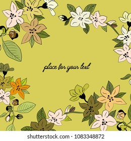 Spring blossoms. Vector illustration of spring flowers with place for your text on yellow background