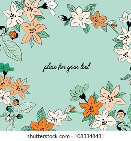 Spring blossoms. Vector illustration of spring orange and white flowers with place for your text on turquoise background