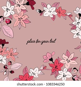 Spring blossoms. Vector illustration of spring red and white flowers with place for your text on pink background
