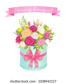Spring bouquet of rose flowers pink red and white color in decorative wrapping box package vector illustration blooming flower present on Womens day