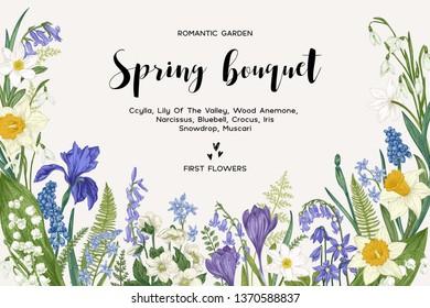 Spring bouquet. Vintage vector card with garden flowers. Botanical illustration. Floral background.