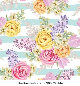Spring bouquets on the striped background. Vector seamless pattern with delicate flowers. Rose, lilac, tulip, matthiola. Pastel yellow, pink, serenity colors.