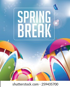 Spring Break background with copy space EPS 10 vector royalty free stock illustration for greeting card, ad, promotion, poster, flier, blog, article, social media, marketing