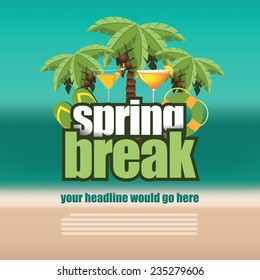 Spring break palm trees on blurry beach background EPS 10 vector stock illustration