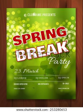 spring break party invitation poster flyer のベクター画像素材