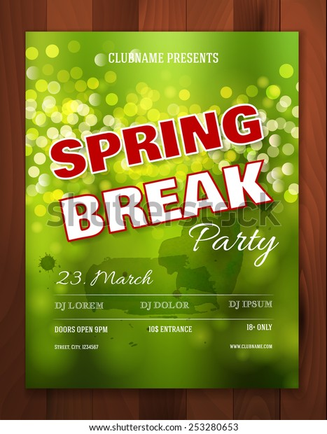 Spring break party invitation or poster or flyer template. Vector illustration