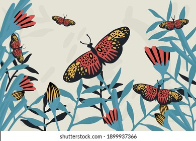 Spring butterfly banner. The doodles depicted winged, soaring butterflies, flowers, spring, eggs, and summer. Flower poster with moths in the tropics. Vector illustration