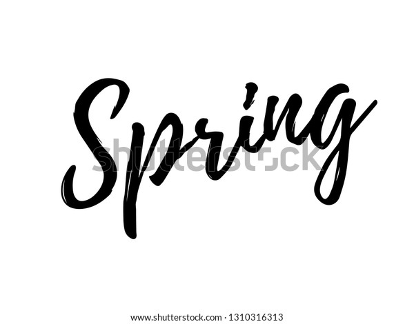 Spring Calligraphic Lettering Black Text Typography Stock