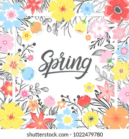 Spring card with hand drawn lettering with floral elements,plants,leaves and flowers. Seasons greetings card perfect for prints, flyers,banners,invitations,special offer and more.