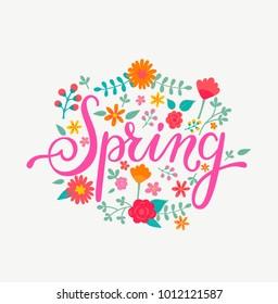 Spring card with handdrawn lettering in floral decorative frame. Vector Illustration for your design.