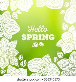Spring card with orchid flowers and blurred background vector illustration