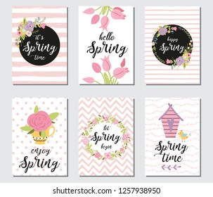 Spring card set with spring quotes, calligraphy, flowers, wreath, birds, tulips, rose, cup. Banners for greeting cards sale badges poster cover tag invitation. Hand drawn style, vector illustration.