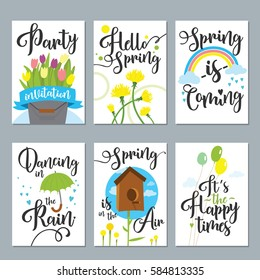 Spring card set with spring quotes, calligraphy, flowers and balloons vector illustration. Trendy Graphic Design for banner, poster, card, cover, invitation, placard, brochure, flier.