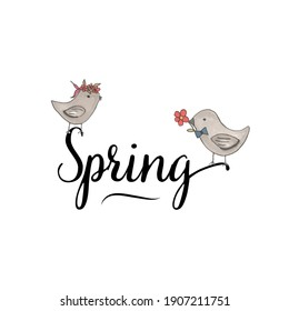 spring card with text and birds. cute poster for design. vector illustration for design