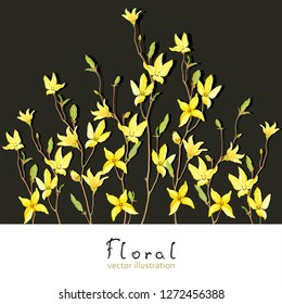 Spring card for your text with blossoming yellow flowers and green leaves branches Forsythia. Vector tender illustration in watercolor style.