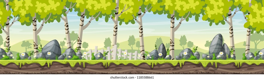Spring cartoon landscape with stones and fence