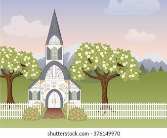 Spring church scene. A landscape scene with a country church, picket fence, and flowering trees and bushes. Soft, pastel colors perfect for spring and Easter.