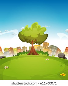 Spring City Landscape/ Illustration of a cartoon spring or summer season urban landscape, with tree, green field and skyscrapers background