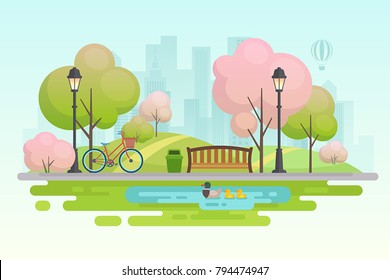 Spring city park.Vector illustration.
