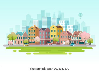 Spring cityscape.Vector illustration.