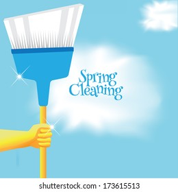 Spring cleaning broom background. EPS 10 vector, grouped for easy editing. No open shapes or paths.