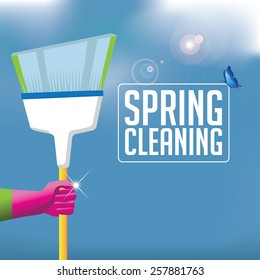 Spring cleaning broom background. EPS 10 vector royalty free stock illustration for ad, promotion, poster, flier, blog, article, social media, marketing, brochure, signage, supplies, retail, more