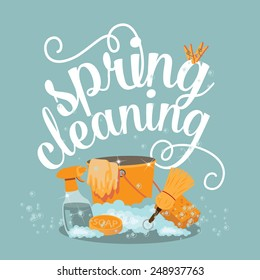 Spring Cleaning cheerful flat design EPS 10 vector royalty free stock illustration