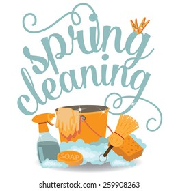 Spring Cleaning cheerful flat design EPS 10 vector royalty free stock illustration for greeting card, ad, promotion, poster, flier, blog, article, social media, marketing