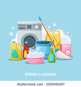 Spring cleaning flat cartoon illustration. Bright illustration of household things for cleaning: washing machine, powders, detergents, mop, pelvis. Vector illustration.