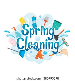 Spring Cleaning Letter Decorating And Equipment, Housework, Appliance, Domestic Tools, Season
