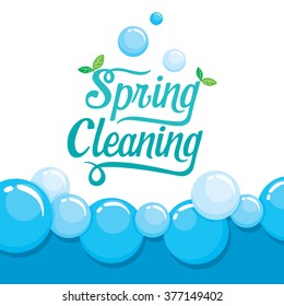 Spring Cleaning Letter Decorating And Foam Background, Housework, Appliance, Domestic Tools, Season