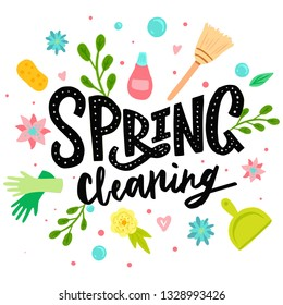 Spring Cleaning Lettering Decorating And Equipment, Housework, Appliance, Domestic Tools, Season. Vector illustration, flat style