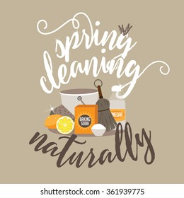 Spring Cleaning naturally with baking soda, vinegar and lemon flat design EPS 10 vector illustration for greeting card, ad, promotion, poster, flier, blog, article, social media, marketing