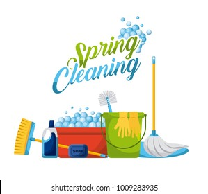 spring cleaning products and accessories icons