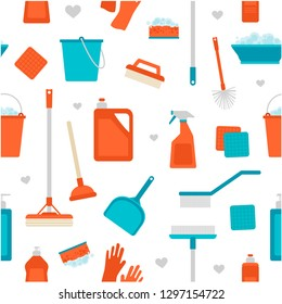 Spring cleaning. Seamless pattern with cleaning tools. Flat vector objects. Clean home.